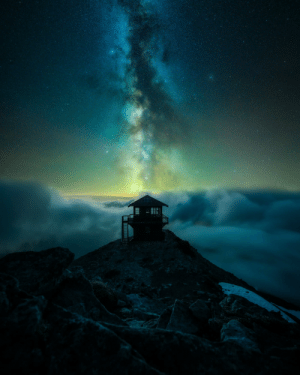Two of my favorite things, The Milky Way and a fire lookout.: Two of my favorite things, The Milky Way and a fire lookout.