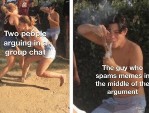 Memes, The Middle, and Who: Two people  arguing in a  group cha  The guy who  spams memes in  the middle of the  argument