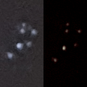 Two photographs of the Pleiades cluster I took the other night with my phone camera. On the left is the night mode camera preset for Samsung Galaxy S10, and on the right is manual shutter speed of 1 sec.: Two photographs of the Pleiades cluster I took the other night with my phone camera. On the left is the night mode camera preset for Samsung Galaxy S10, and on the right is manual shutter speed of 1 sec.