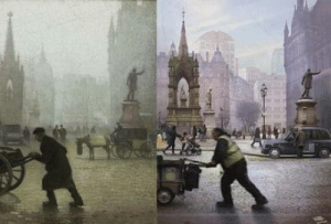 Pictures, Square, and French: Two pictures - on the left, a painting of Albert Square Manchester, by the French painter Pierre Adolphe Valette, and on the right a photo of the same spot in 2018.