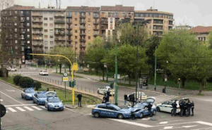 Two police cars managed to crash into each other in the currently empty streets of Milan: Two police cars managed to crash into each other in the currently empty streets of Milan