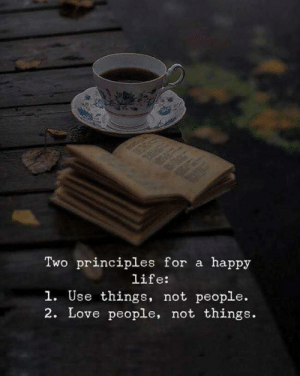Principles: Two principles for a happy  life:  1. Use things, not people.  2. Love people, not things.