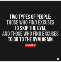 Actually there's 3 types of people... Those who make the excuse of creating a gym wherever they stand.: TWO TYPES OF PEOPLE  THOSE WHO FINDEXCUSES  TO  SKIP THE GYM  AND THOSE WHO FINDEXCUSES  TO GO TO THE GYM AGAIN  GYMAHOLIC  GA Actually there's 3 types of people... Those who make the excuse of creating a gym wherever they stand.