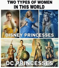 TWO TYPES OF WOMEN  IN THIS WORLD  DISNEY PRINCESSES  DC PRINCESSES I will always choose to be an Amazonian Princess over disney.  ☆WonderWoman #GothamCityMemes