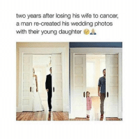 Cancer, Girl, and Wife: two years after losing his wife to cancer,  a man re-created his wedding photos  with their young daughter I can't cope 😭 Double tap if this made you look twice 💓 sadpost wedding weddingpictures daughter fatherdaughter