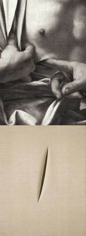 twofigs:    Caravaggio, The Incredulity of St. Thomas (detail), c.1601Lucio Fontana, Spatial Concept, 1960: twofigs:    Caravaggio, The Incredulity of St. Thomas (detail), c.1601Lucio Fontana, Spatial Concept, 1960