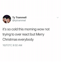 Christmas, Memes, and Wow: Ty Trammell  @tytrammel  it's so cold this morning wow not  trying to over react but Merry  Christmas everybody  10/17/17, 9:32 AM Follow my page @kendalljennerandjesus if you like relatable things