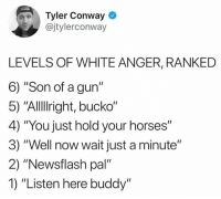 "Follow me on Instagram: @nathanielknows: Tyler Conway  @jtylerconway  LEVELS OF WHITE ANGER, RANKED  6) ""Son of a gun""  5) ""Allllright, bucko""  4) ""You just hold your horses""  3) ""Well now wait just a minute""  2) ""Newsflash pal""  1) ""Listen here buddy"" Follow me on Instagram: @nathanielknows"