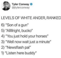 "Conway, Horses, and White: Tyler Conway  @jtylerconway  LEVELS OF WHITE ANGER, RANKED  6) ""Son of a gun""  5) ""Allillright, bucko""  4) ""You just hold your horses""  3) ""Well now wait just a minute""  2) ""Newsflash pal""  1) ""Listen here buddy'"" *wags finger*"