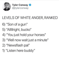 "Conway, Horses, and White: Tyler Conway  @jtylerconway  LEVELS OF WHITE ANGER, RANKED  6) ""Son of a gun""  5) ""Allllright, bucko""  4) ""You just hold your horses""  3) ""Well now wait just a minute""  2) ""Newsflash pal  1) ""Listen here buddy"" meirl"