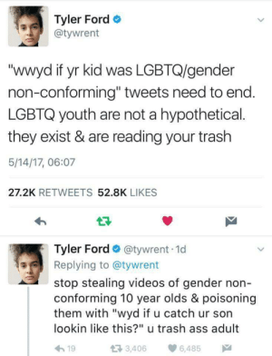 "ithelpstodream: today is international day against homophobia and transphobia and this shit needs to stop.: Tyler Ford  @tywrent  ""wwyd if yr kid was LGBTQ/gender  non-conforming"" tweets need to end  LGBTQ youth are not a hypothetical.  they exist & are reading your trash  5/14/17, 06:07  27.2K RETWEETS 52.8K LIKES  Tyler Ford @tywrent 1d  Replying to @tywrent  stop stealing videos of gender non  conforming 10 year olds & poisoning  them with ""wyd if u catch ur son  lookin like this?"" u trash ass adult  h19  3,406 6,485 ithelpstodream: today is international day against homophobia and transphobia and this shit needs to stop."