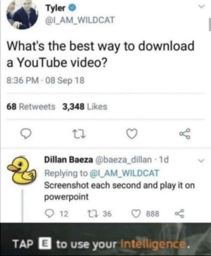 IQ over 9000: Tyler  @L_AM_WILDCAT  What's the best way to download  a YouTube video?  8:36 PM- 08 Sep 18  68 Retweets 3,348 Likes  Dillan Baeza @baeza_dillan 1d  Replying to @l_AM_WILDCAT  Screenshot each second and play it on  powerpoint  12  t 36  888  TAP E to use your Intelligence. IQ over 9000