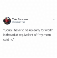 "Memes, Sorry, and Work: Tyler Summers  @summ1Tup  ""Sorry I have to be up early for work""  is the adult equivalent of ""my mom  said no"" And I will never not use it. (Via @summers_not_over)"
