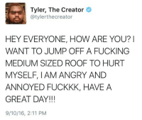 Fucking, Tyler the Creator, and Angry: Tyler, The Creator  @tylerthecreator  HEY EVERYONE, HOW ARE YOU?I  WANT TO JUMP OFF A FUCKING  MEDIUM SIZED ROOF TO HURT  MYSELF, I AM ANGRY AND  ANNOYED FUCKKK, HAVE A  GREAT DAY!!!  9/10/16, 2:11 PM