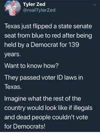 Illegals: Tyler Zed  @realTylerZed  Texas just flipped a state senate  seat from blue to red after being  held by a Democrat for 139  years.  Want to know how?  They passed voter ID laws in  Texas.  Imagine what the rest of the  country would look like if illegals  and dead people couldn't votee  for Democrats!