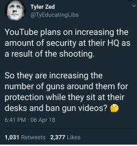 the shooting: Tyler Zed  @TyEducatingLibs  YouTube plans on increasing the  amount of security at their HQ as  a result of the shooting.  So they are increasing the  number of guns around them for  protection while they sit at their  desks and ban gun videos?  6:41 PM 06 Apr 18  1,031 Retweets 2,377 Likes