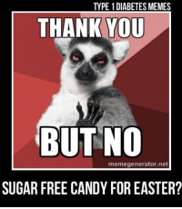 Candy, Easter, and Memes: TYPE 1 DIABETES MEMES  THANK YOU  BUT NO  memegenerator.net  SUGAR FREE CANDY FOR EASTER?