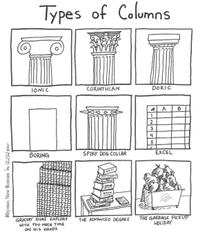 Too Much, Excel, and Time: Types of Columns  IONI C  CORINTHIAN  DORIC  3  BORING  SPIKY DOG COLLAR  EXCEL  GROCERY STORE EMPLOYEE  WITH TOo MUCH TIME  ON HIS HANDS  THE GAKBAGE PICKUP  HOLIDAY  THE ADVANCED DEGRE E Columns [OC]