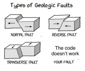 Work, Computer, and Programmer Humor: Types of Geologic Faults  NORMAL FAULT  REVERSE. FAUCT  The code  doesn't work  TRANSVERSE FAULT  YOUR FAULT It works on my computer