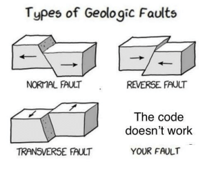 It works on my computer: Types of Geologic Faults  NORMAL FAULT  REVERSE. FAUCT  The code  doesn't work  TRANSVERSE FAULT  YOUR FAULT It works on my computer