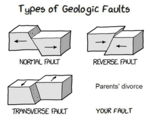 Me🚶‍♂️irl: Types of Geologic Faults  NORMAL FAULT  REVERSE FAULT  Parents' divorce  TRANSVERSE FAULT  YOUR FAULT Me🚶‍♂️irl