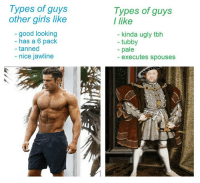 Girls, Tbh, and Ugly: Types of guys  other girls like  good looking  has a 6 pack  tanned  nice jawline  Types of guys  I like  kinda ugly tbh  tubby  pale  executes spouses