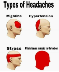 Music In: Types of Headaches  ligraine Hypertension  Stress  Christmas music in October