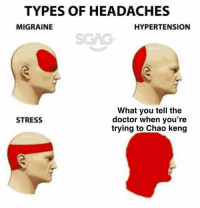 Doctor, Memes, and Migraine: TYPES OF HEADACHES  MIGRAINE  HYPERTENSION  SGAG  What you tell the  doctor when you're  trving to Chao keng  STRESS HEADACHES! You give me HEADACHES!
