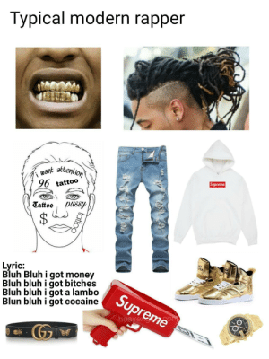Funny, Money, and Supreme: Typical modern rapper  uant attention  96 tattoo  Supreme  Tattoo lssy  Bluh Bluh i got money  Bluh bluhigot bitches  Bluh bluh i got a lambo  Blun bluh i got cocaine  Supreme  heaveso Modern rappers in a nutshell via /r/funny https://ift.tt/2CA3p52
