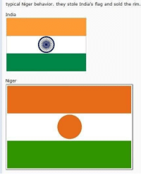 India, Niger, and They: typical Niger behavior. they stole India's flag and sold the rim.  India  Niger <p>Typical ni🅱️ers 🙄</p>