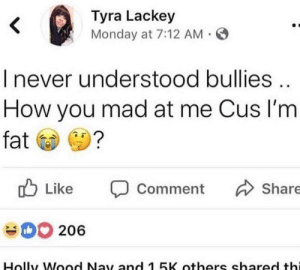 : Tyra Lackey  Monday at 7:12 AM  I never understood bullies  How you mad at me Cus I'm  fat  Like Comment Share  206  Holly Wood Nay and 1 5K others shared thi