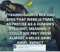eyesight: TYRANNOSAURUS REX HAD  EYES THAT WERE 13 TIMES  AS PRECISE AS A HUMAN'S  EYESIGHT, MEANING IT  COULD SEE PREY FROM  ALMOST 4 MILES (6KM)  AWAY. #8 FACT  Denzil Kivenderan Manickum Still couldnt see  that asteroid coming  Não gosto Responder山3187 48 ás 7:02