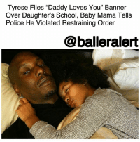 "Apparently, Children, and Family: Tyrese Flies ""Daddy Loves You"" Banner  Over Daughter's School, Baby Mama Tells  Police He Violated Restraining Order  @balleralert Tyrese Flies ""Daddy Loves You"" Banner Over Daughter's School, Baby Mama Tells Police He Violated Restraining Order – blogged by @MsJennyb (Swipe)( pic @tmz_tv) ⠀⠀⠀⠀⠀⠀⠀ ⠀⠀⠀⠀⠀⠀⠀ Just weeks after Tyrese called out his baby mama on Instagram over legal issues regarding their 10-year-old daughter, Norma Gibson has filed new documents against the singer-turned-actor for violating her temporary restraining order. ⠀⠀⠀⠀⠀⠀⠀ ⠀⠀⠀⠀⠀⠀⠀ According to TMZ, Norma accused Tyrese of spanking their daughter, Shayla, prompting the Department of Children and Family Services to investigate the incident. Norma was then granted a temporary restraining order against the singer-actor, ordering him to refrain from any direct contact with her or their daughter. But, when Tyrese flew a banner over his daughter's school, Norma went back to officials over the alleged violation. ⠀⠀⠀⠀⠀⠀⠀ ⠀⠀⠀⠀⠀⠀⠀ The banner read, ""No matter what, Daddy loves you Shayla,"" as it flew over the little girl's elementary school. The singer had also been sending Shayla gifts that were delivered to the school, including balloons, a fruit basket and a teddy bear, all of which Norma believes is a violation of the restraining order and a form of witness intimidation. Apparently, DCFS is expected to interview Shayla as part of its investigation into Tyrese's alleged abuse. ⠀⠀⠀⠀⠀⠀⠀ ⠀⠀⠀⠀⠀⠀⠀ In turn, Tyrese's team says it was not a violation because he didn't have any personal contact with his daughter."
