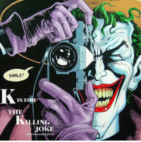 "Bad, Bad Day, and Batman: (TZMACHER  vlETZM4  Qhy7708  7708-S  SMILE!  IS FOR  .LING  JOKE  HISTORYOFI'llEBAT3Lse..  WITZ  KAWALAR2  K ""The ABC's of The Joker"" - K is for ""Batman: The Killing Joke"": On March 29, 1988, one of the most definitive Joker stories was published: the graphic novel 'Batman: The Killing Joke' written by Alan Moore and illustrated by Brian Bolland, John Higgins and Richard Starkings. The story begins with the Dark Knight traveling to Arkham Asylum, deciding to attempt to talk to Joker, ending their war once and for all. Yet he finds an imposter Joker in his cell. The real Joker is free, purchasing a run down amusement park. The issue turns to a series of flashbacks presenting Joker's ""origin story"": an unnamed man failing to become a stand up comedian reluctantly agrees to help two crooks do an inside job at a power plant to bring in money to support his wife and unborn child. Tragedy strikes when the man learns his wife and baby have died and the heist at the plant goes wrong, leading the man to flee from the Batman on site into a vat of chemicals transforming him into the insane Joker. To prove that even the sanest man can turn for the worst after having one bad day, Joker arrives at the home of Commissioner Gordon and his daughter Barbara. As Babs opens the door, the Clown Prince of Crime shoots her, having her crash into the coffee table. Joker's henchmen then kidnap James, imprisoning him in the run down amusement park and is forced to view large photos taken by the Joker of Barbara undressed and wounded from the gunshot. Once Batman arrives at the hospital, finding Barbara paralyzed from the gunshot and discovering Joker photographed her, he goes to save Gordon, and the Joker retreats into the funhouse. Gordon's sanity is intact despite the ordeal and he insists that Batman capture the Joker ""by the book"" in order to ""show him that our way works"". Batman tracks down the Joker and subdues him, then attempts to reach out to Joker to give up crime and put a stop to their years-long war. The Joker declines, however, ruefully saying ""It's far too late"". The comic fittingly ends with Joker telling a joke, both him and Batman laughing and the panels move away into the rain. ✌🏼💜💚🃏📚"