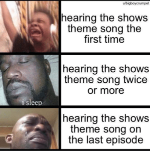 It's always like this: u/bigboycrumpet  |hearing the shows  theme song the  first time  hearing the shows  theme song twice  or more  i sleep  |hearing the shows  theme song on  the last episode It's always like this