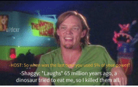 Children, Dinosaur, and Power: u/dcxr  -HOST: So when was the last timeyou used 5% of your power?  -Shaggy: *Laughs* 65 million years ago,  dinosaur tried to eat me, so I killed them all the women and children too