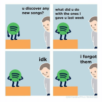 Memes, Buzzfeed, and Discover: u discover any  new songs?  what did u do  with the ones i  gave u last week  i forgot  them  idk  NATHANWPYLE/ BUZZFEED More please (By @nathanwpyle)