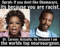 Ben Carson, Racist, and Dr Ben Carson: u dont like dont like 0bamacare,  you Its because you are racist.  Dr. Carson: Actually, its because I am  the worlds top neurosurgeon. Dr. Ben Carson is right AGAIN!