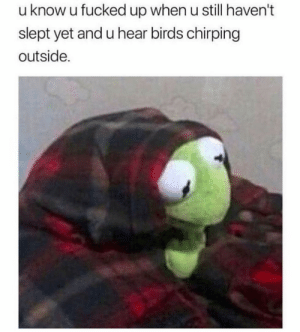 Me irl by monkeykrooklook MORE MEMES: u know u fucked up when u still haven't  slept yet and u hear birds chirping  outside. Me irl by monkeykrooklook MORE MEMES