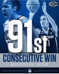 Basketball, Memes, and SportsCenter: u NN  CONSECUTIVE WIN  N CA A DIVISION 1 RECORD Congrats to UConn Women's basketball team, breaking their own record for longest win streak in NCAA Basketball! ⛹️‍♀️🏀👌👏 WSHH (via @sportscenter)