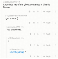 Charlie, Ghost, and Old: u/paddyspub416 7h  It reminds me of the ghost costumes in Charlie  Brown.  50  Reply  u/MySassyPetRockandl 5h  I got a rock :(  1 40  Reply  u/paddyspub416.3h  You blockhead  Reply  u/OhGoodGrief 2h  7  Reply  u/shagrotten 2h  r/beetlejuicing?  3  Reply