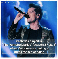 """Cred to @shealefty for this 💕😍 Do you watch it?🤔: U R I E F A C T S  Doab was played in  The Vampire Diaries"""" [season 8  ep. 3  when Caroline was finding a  dress for her wedding Cred to @shealefty for this 💕😍 Do you watch it?🤔"""