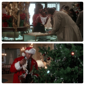 In National Lampoon's Christmas Vacation (1989), Clark is seen flirting with the saleswoman, Mary, at the lingerie counter (17m). Later, after the first tree catches fire and Clark cuts down the new one (1h 18m) you see Clark pull the same lingerie out of a burnt gift box and hang on the tree.: u/rm908  u/rm908  u/rm908 In National Lampoon's Christmas Vacation (1989), Clark is seen flirting with the saleswoman, Mary, at the lingerie counter (17m). Later, after the first tree catches fire and Clark cuts down the new one (1h 18m) you see Clark pull the same lingerie out of a burnt gift box and hang on the tree.