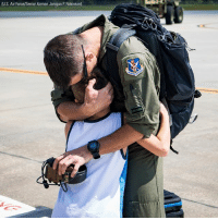 A big hug for a little boy as his father returns from participating in HurricaneHarvey relief efforts.: U.S. Air Force/Senior Airman Janiqua P. Robinson) A big hug for a little boy as his father returns from participating in HurricaneHarvey relief efforts.