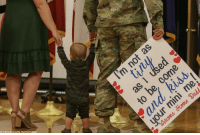A soldier assigned to the 2nd Infantry Brigade Combat Team, 4th Infantry Division is greeted by his wife and son for a homecoming ceremony in Fort Carson, Colorado. proudamerican🇺🇸: U.S Army photo by Pfc. Matthew Rabahv A soldier assigned to the 2nd Infantry Brigade Combat Team, 4th Infantry Division is greeted by his wife and son for a homecoming ceremony in Fort Carson, Colorado. proudamerican🇺🇸