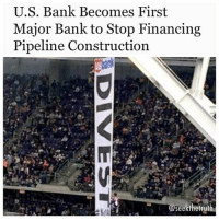 "Energy, Memes, and Pressure: U.S. Bank Becomes First  Major Bank to Stop Financing  Pipeline Construction  se EcoWatch.com- USBank has become the first major bank in the U.S. to formally exclude gas and oil pipelines from their project financing. This groundbreaking change to their Environmental Responsibility Policy was publicly announced at the annual shareholders meeting in Nashville in April. In addition to no longer providing ""project financing for the construction of oil or natural gas pipelines,"" the bank has stated that relationships with their clients in the oil & gas industries will be subject to ""enhanced due diligence processes."" As recently as March 2017, U.S. Bank has renewed commitments with Energy Transfer Partners, the company constructing the DakotaAccessPipeline, & with Enbridge Energy, whose pipelines operate within Minnesota. However, advocates are hopeful that the bank's newly released policy will limit other kinds of financing relationships with these industries. This move comes after ongoing pressure on U.S. Bank locally from MN350 & from the Minnesotans for a Fair Economy coalition, & on banks nationally from indigenous groups including Honor the Earth, the Indigenous Environmental Network & the Dakota Access resistance movement. Beginning in 2015, a regional partnership of climate, labor & indigenousrights advocates has urged that U.S. Bank divest from fossil fuels, in particular from Enbridge Energy, & move its financing into the clean energy economy. Local actions have included letter-writing, account closures & social media campaigns. In response, in May 2016 the bank made changes to their Environmental Policy restricting lending to coal. A national & international campaign pressuring banks to divest has been highly successful, pulling nearly $4.5 billion from financiers, & a newly launched coalition effort called Mazaska Talks has expanded this effort. ""Confronting the climate crisis requires boldness, urgency & innovation,"" said Dr. Emily Swanson, a member of MN350. ""While there is more to be done, we are hopeful U.S. Bank can continue to act as an industry leader & as an ally for creating a more sustainable economy."" NoDAPL ™@divestla"