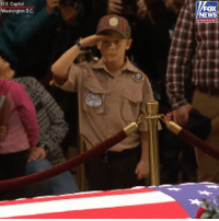 A young scout saluted beside the casket of former President George H.W. Bush Monday at the U.S. Capitol.: U.S. Capitol  Washington D.C.  FOX  NEWS  chan nel A young scout saluted beside the casket of former President George H.W. Bush Monday at the U.S. Capitol.