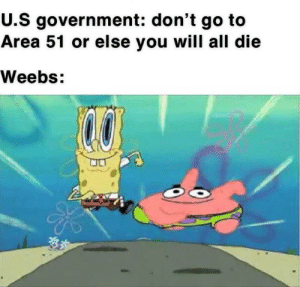 Reddit, Europe, and Government: U.S government: don't go to  Area 51 or else you will all die  Weebs: Europe is supporting the project