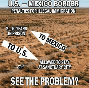 See the difference?: U.S. M EXICO BORDER  PENALTIES FOR ILLEGALIMMIGRATION  2-10YEARS  IN PRISON  .S  ALLOWED TOSTAY  AT SANCTUARYCITY  SEE THE PROBLEM? See the difference?