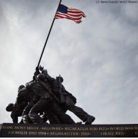 Memes, Molly, and Afghanistan: U.S. Marine Corps/Cpl. Molly E. Hampton  BLANC MONT MEUSE-ARGONNEx NICARAGUA 1926-1933xWORLD WAR-II  SOMALIA 1992-1994 x AFGHANISTAN 2001  IRAQ 2003- The NationalParkService unveiled new engravings on the MarineCorpsWarMemorial in Arlington, Virginia on Tuesday. The Afghanistan and Iraq engravings are the first on the monument since 1996. ProudAmerican